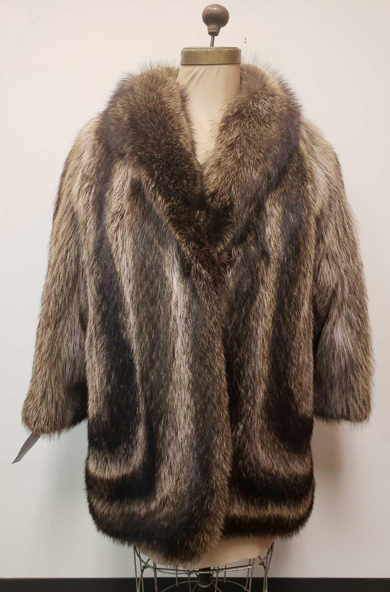 Genuine G and M Italian Raccoon Fur Coat