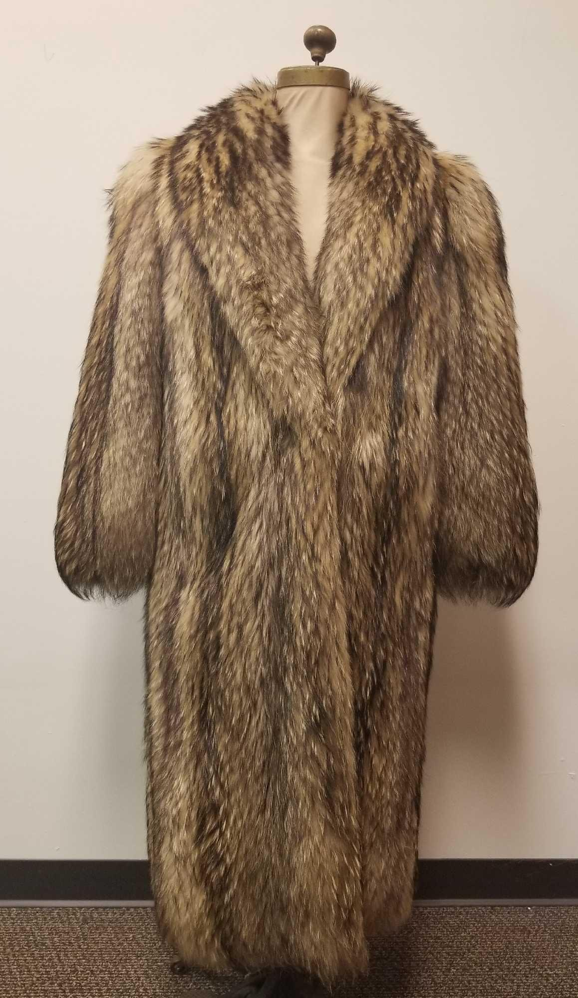 Full Length Tanuki Japanese Fur Coat by Frederick and