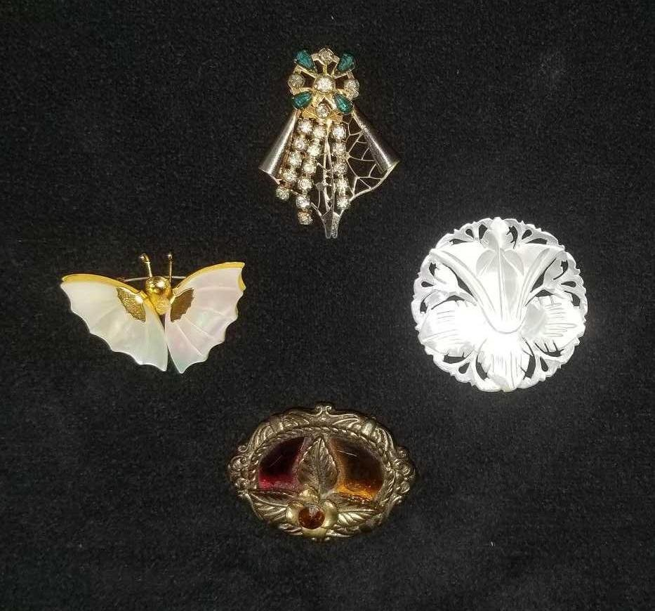 Vintage Mother of Pearl and Rhinestone Brooches Lot of