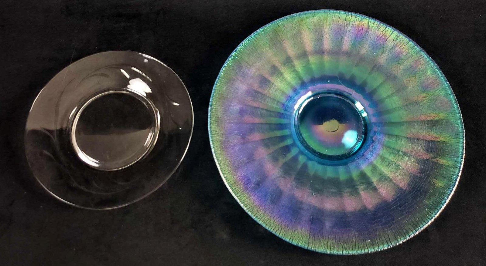 Lot of 2 Fine Glass Plates, Carnival and Clear Glass