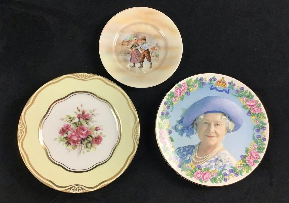 Lot of 3 Vintage Circa 1900s Porcelain Plates Queen