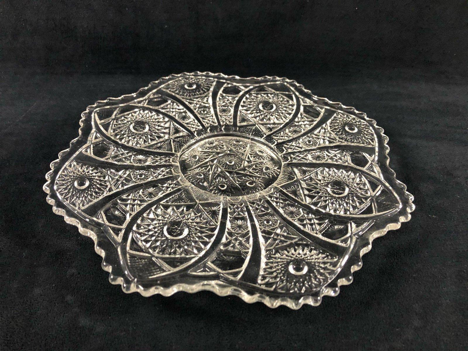Vintage Pressed Glass Serving Tray Platter Flower