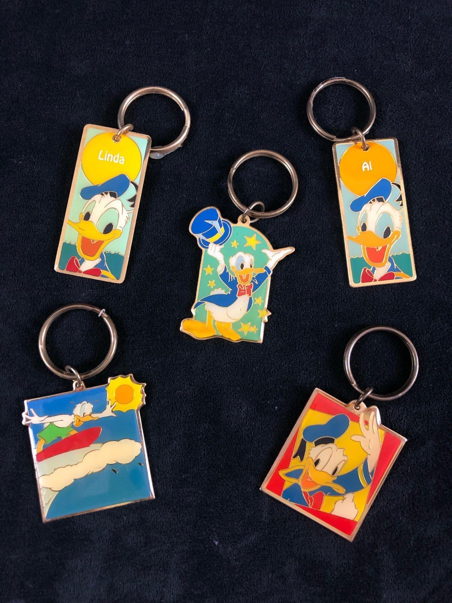 Lot of 5 Rare Vintage Donald Duck Disney Keychain Gold