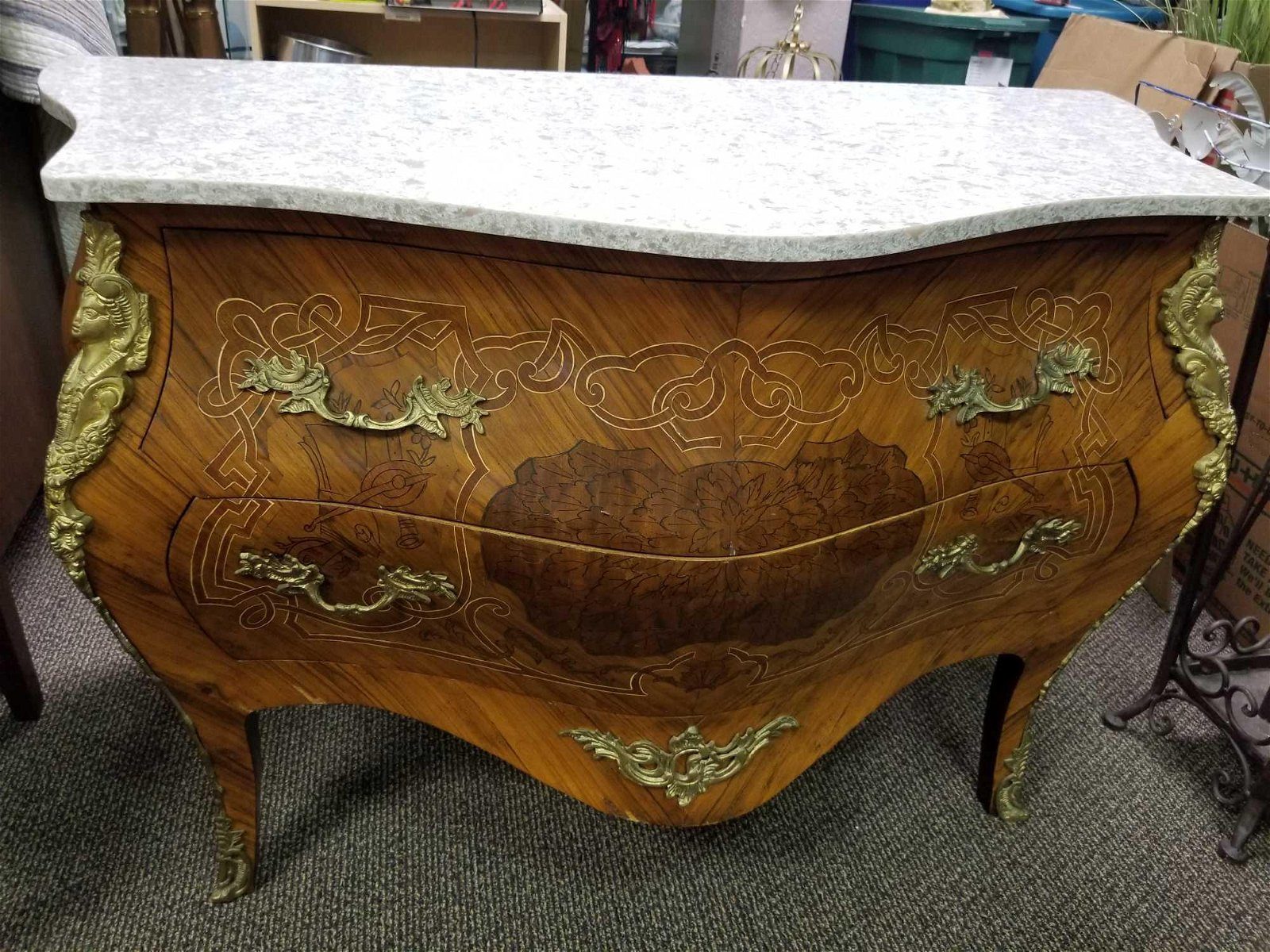 Vintage Louis XV Style Commode with Brass Ormole and