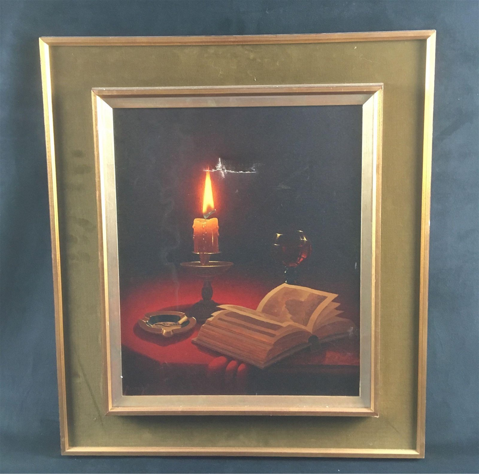 Rusche Candlelight Still Life Oil On Canvas