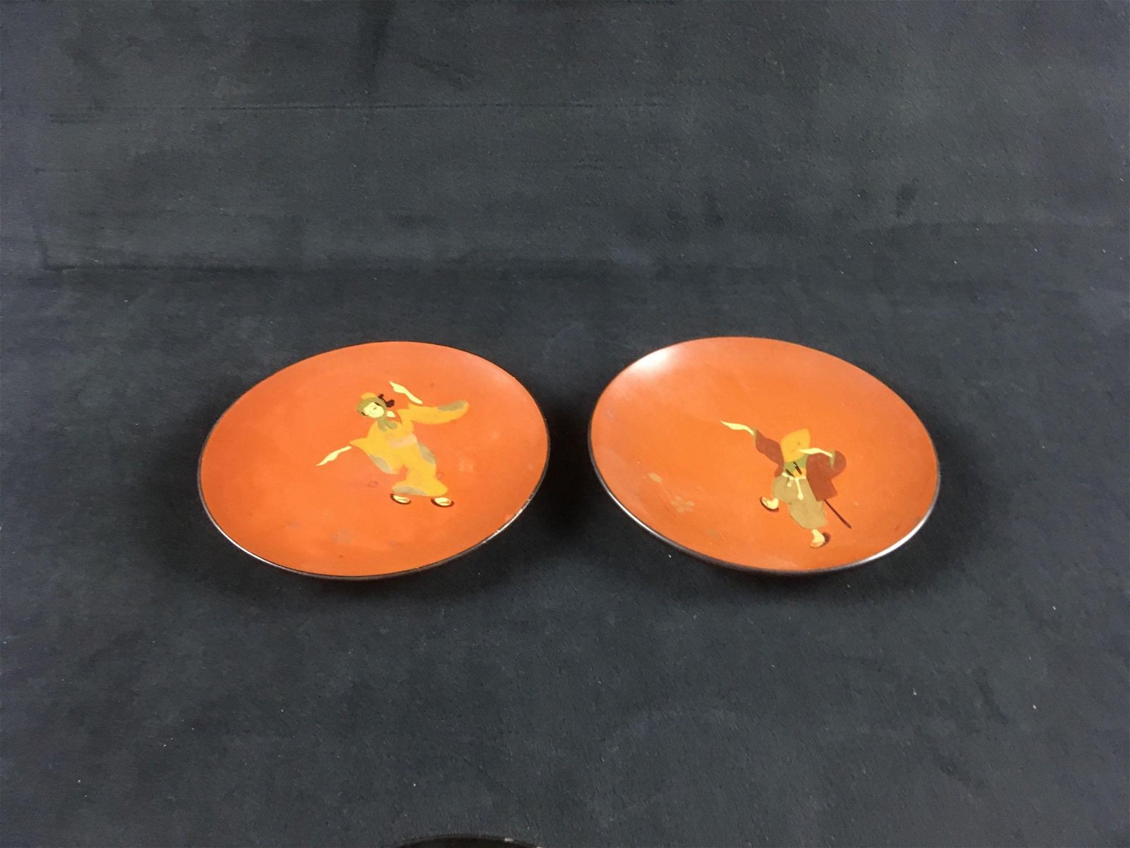 Vintage Hand painted Red Lacquer ware Plates
