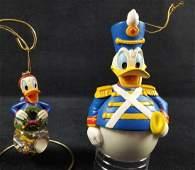 Lot of 2 Disney Donald Christmas Ornaments Snowglobe