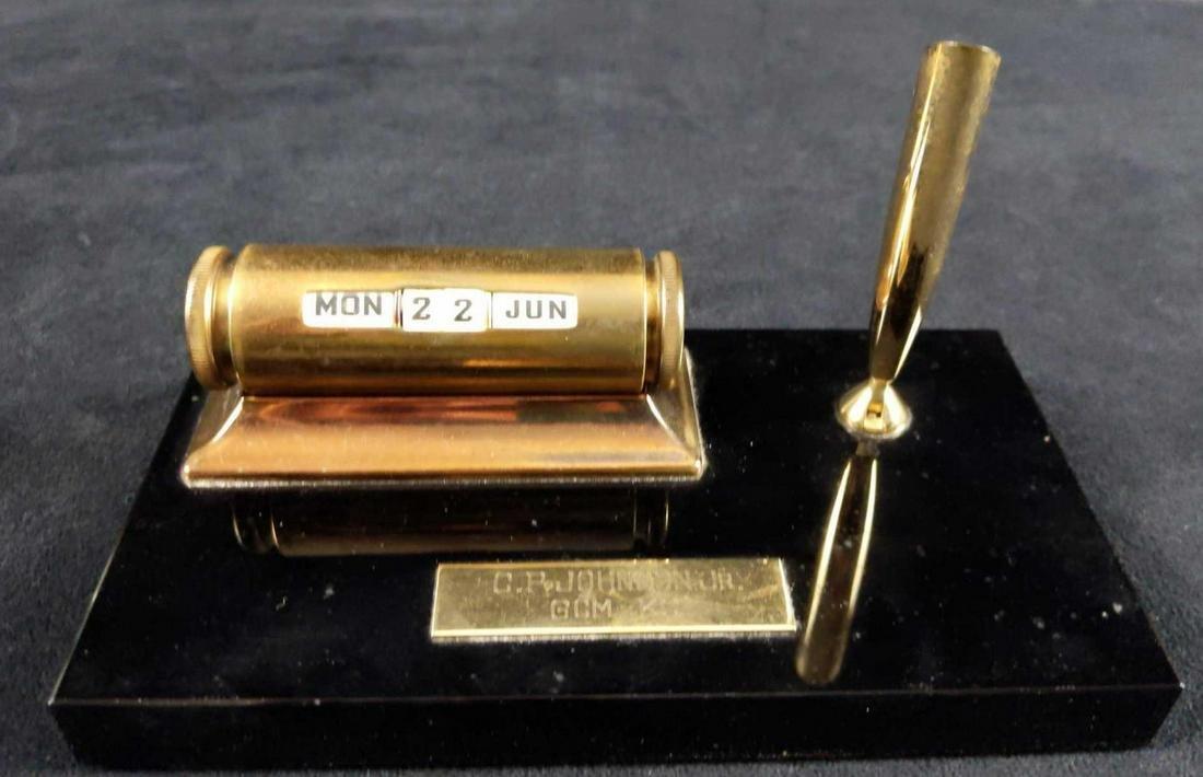 Sheaffer Brass Perpetual Calendar with Pen Holder