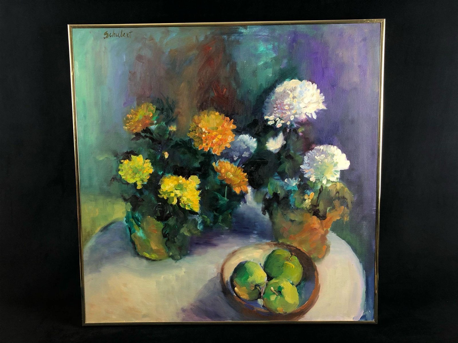 Vintage Original Sighed Jean Schubert Oil On Canvas
