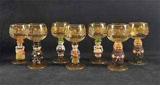 Set of Seven Goebel Hummel Wine Glasses