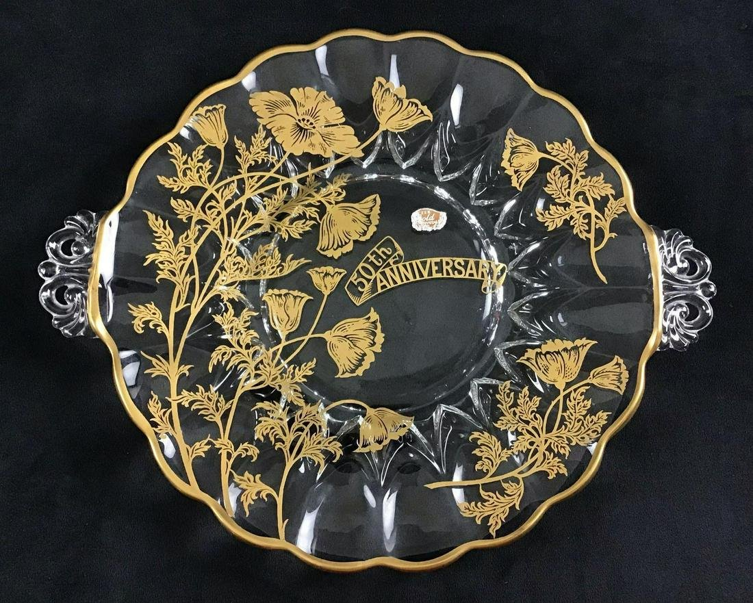 22k Gold Crystal 50th Anniversary Serving Plate Modern