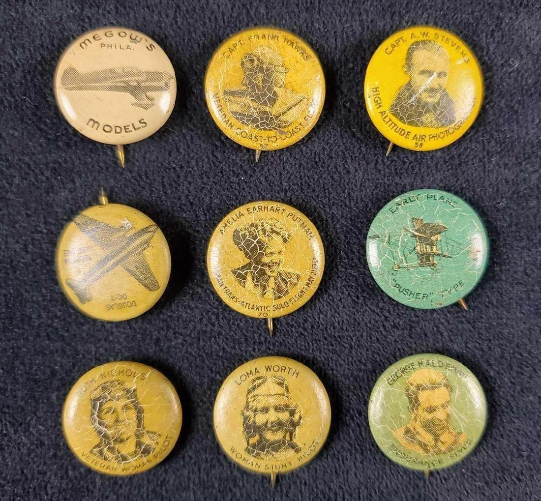 Lot of 9 1930s Greenduck Aviation Pins