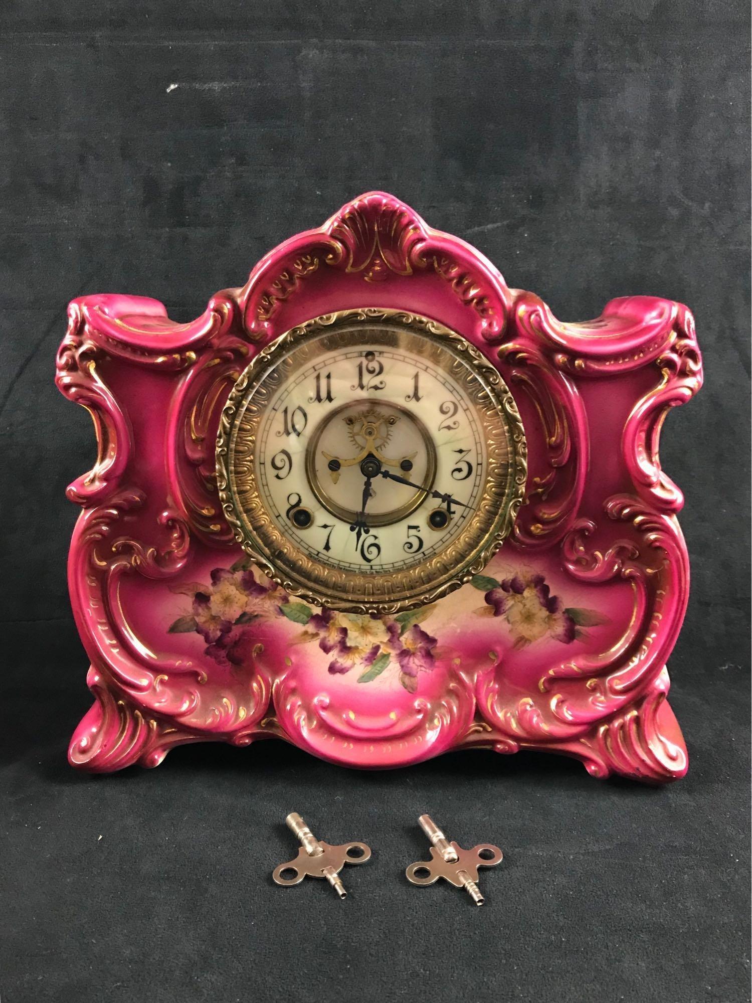 Antique Asonia Ossipee Pink Mantle Clock