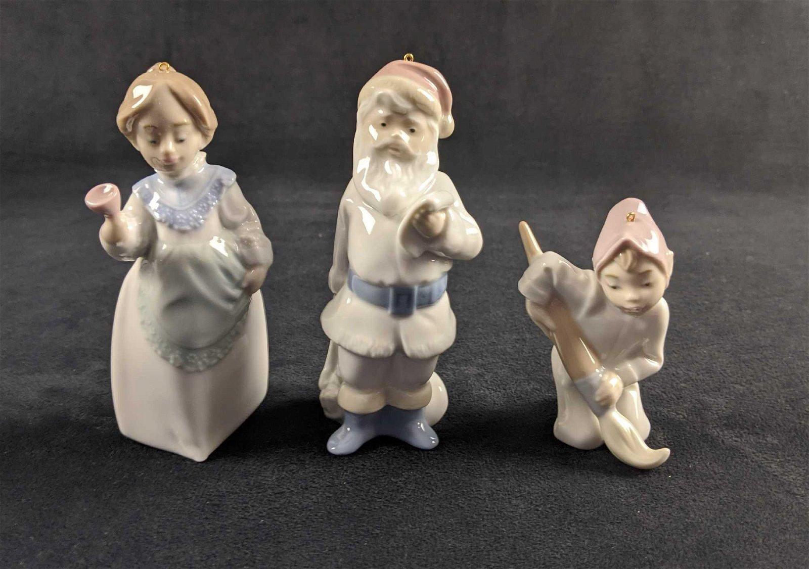 Lladro Porcelain Christmas Lot Of 3 Sets Santa