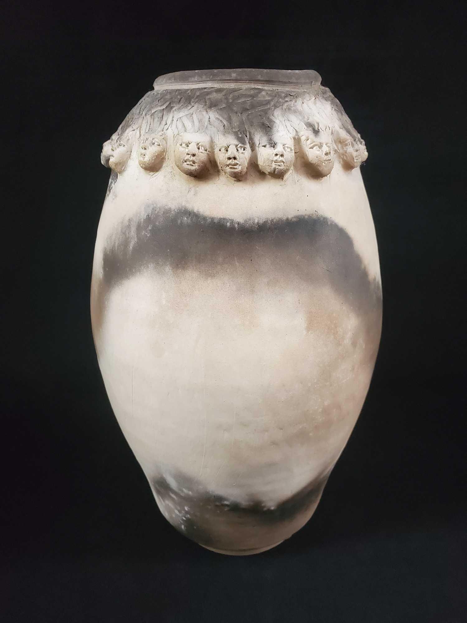 Women Heads Pottery Vase by Kimsey