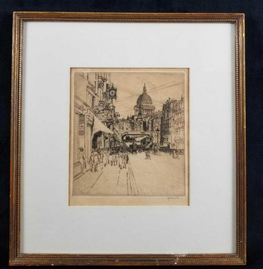 1925 The Street Of Ink Etching by Fred Richards