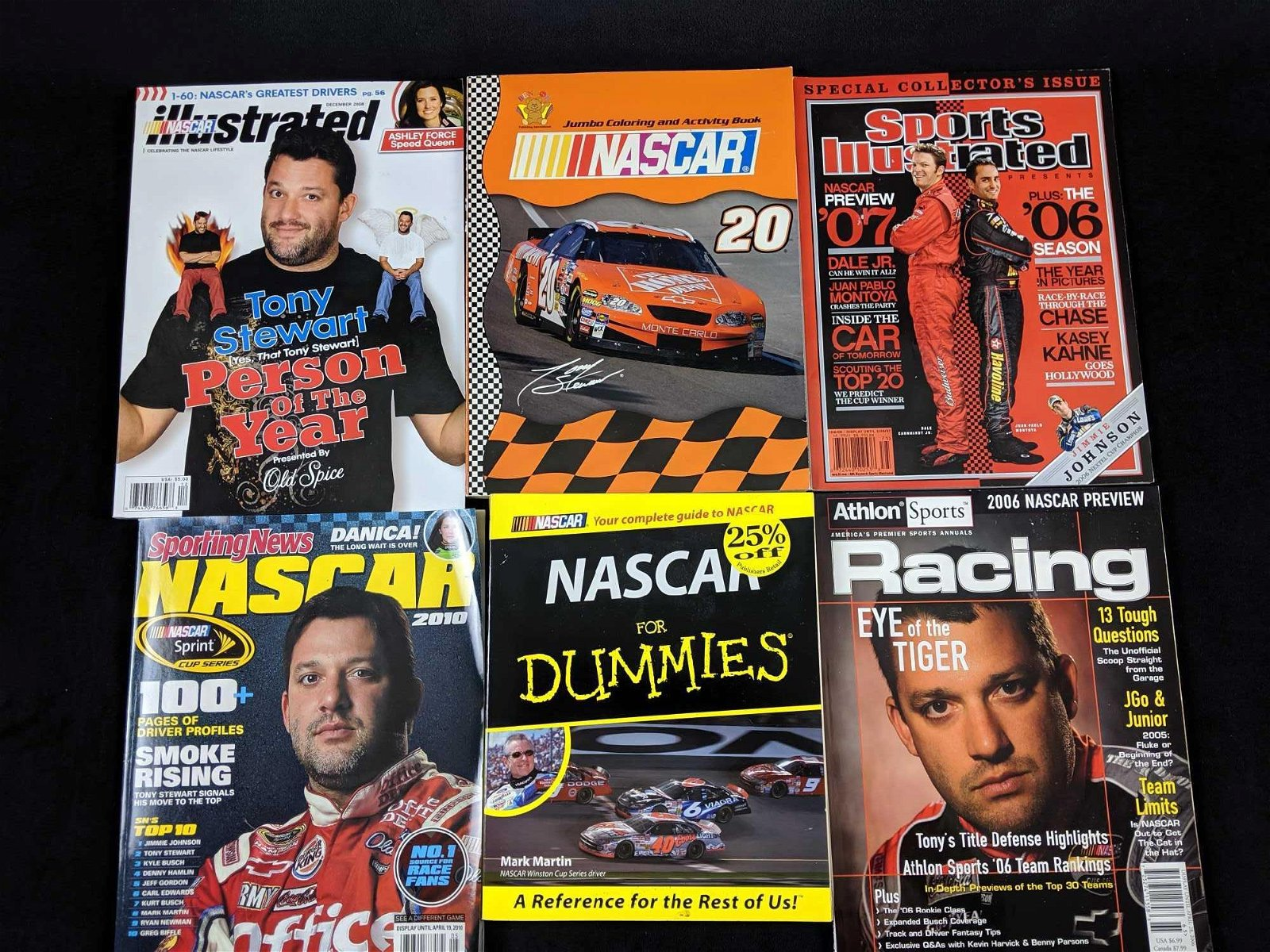 Assorted Tony Stewart Racing Magazines And Books Lot of