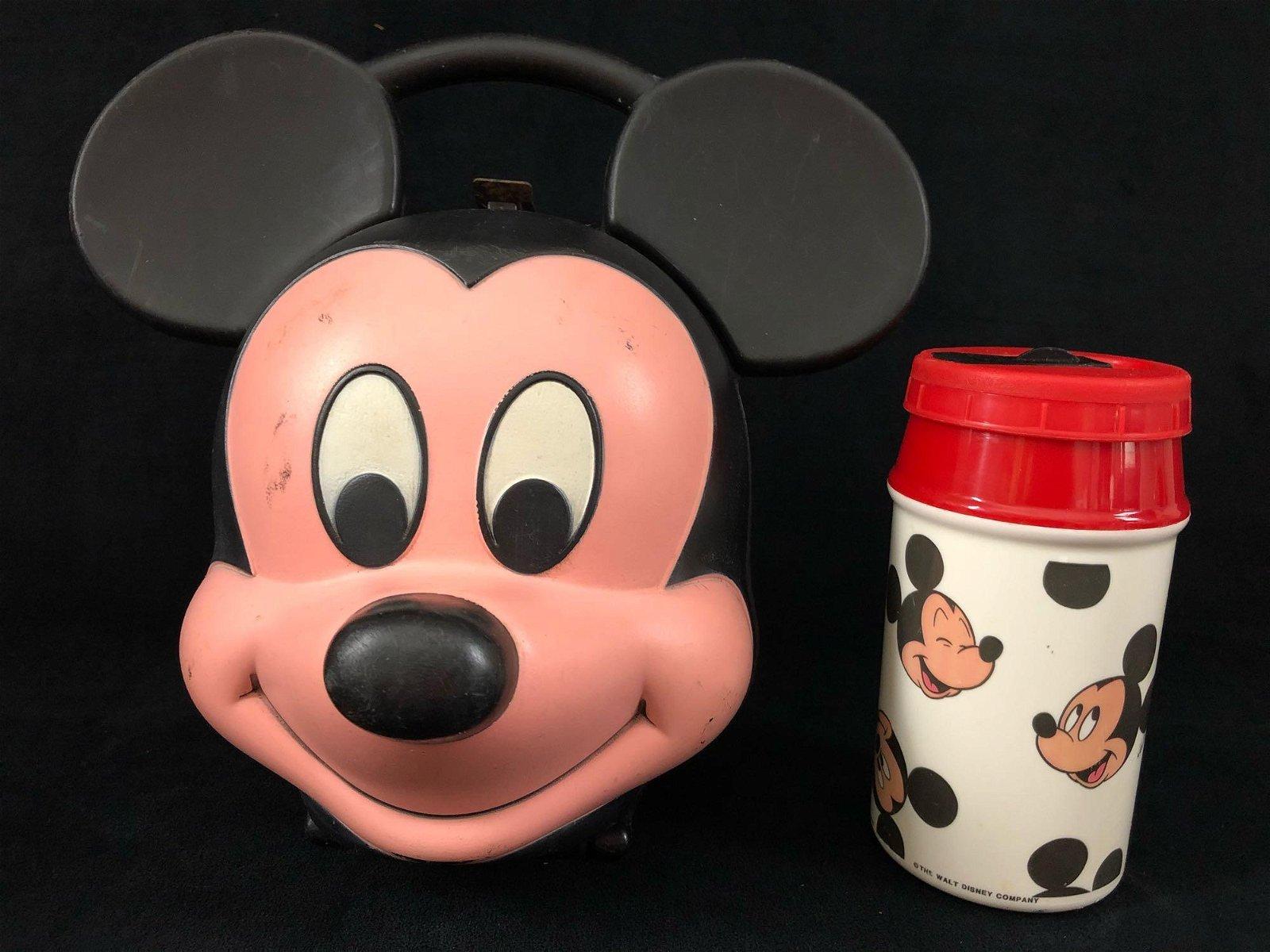 Vintage Disney Mickey Mouse Head Lunch Box Kit Aladdin