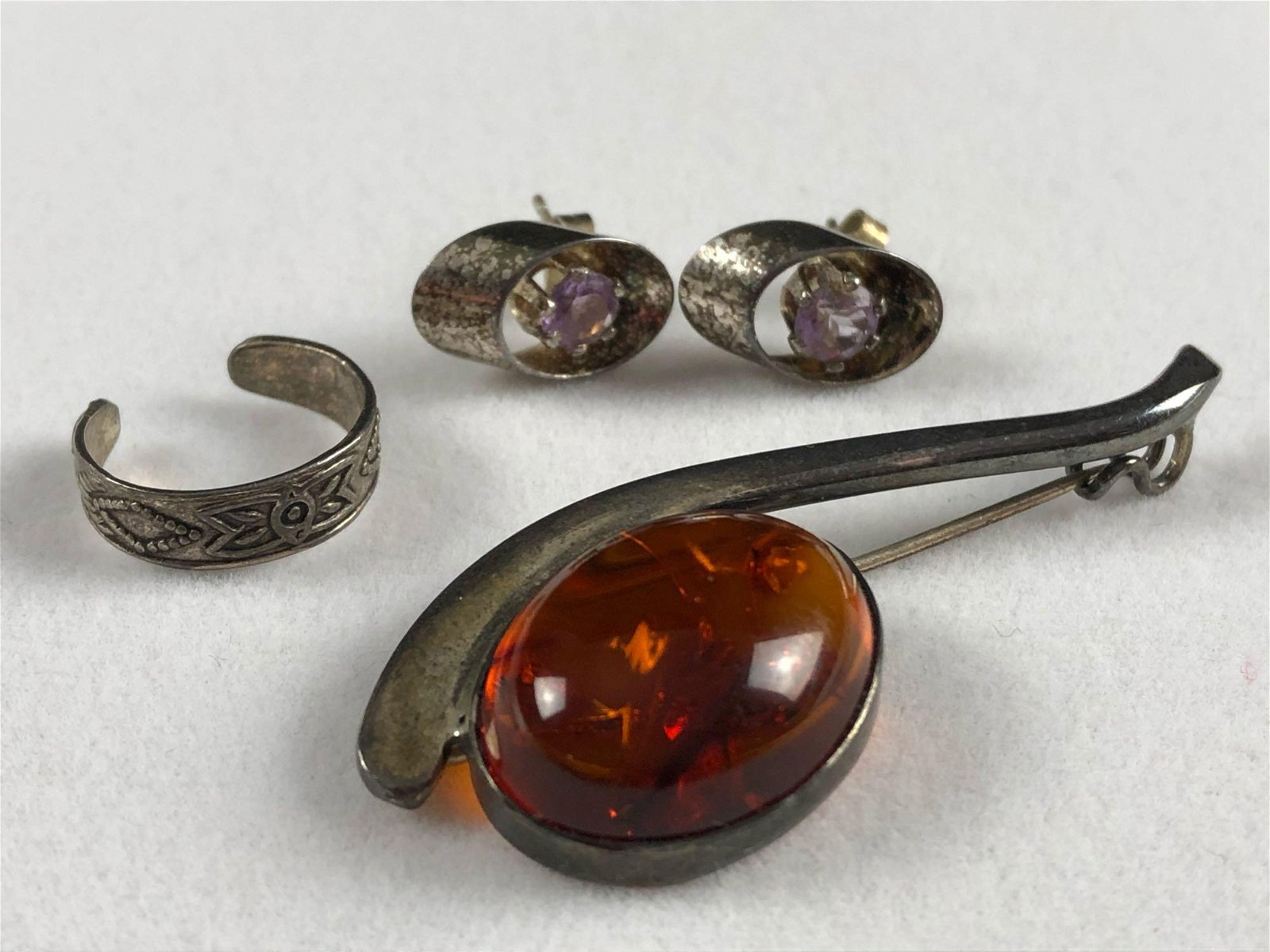 Vintage Sterling Silver Brooch Earrings Ring