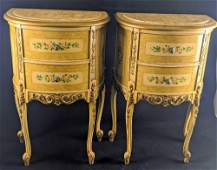 Two Marble Top Vintage Hand Painted Nightstands