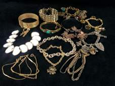 Vintage Lot Of Costume Silver & Gold Plated Jewelry