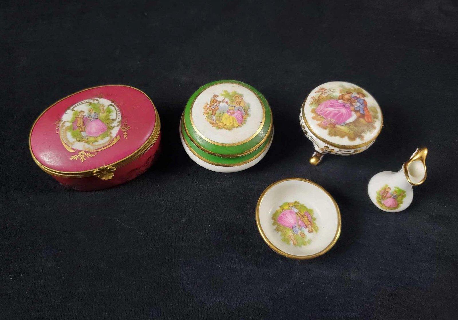5 Piece Porcelain Limoges France Renaissance Lot