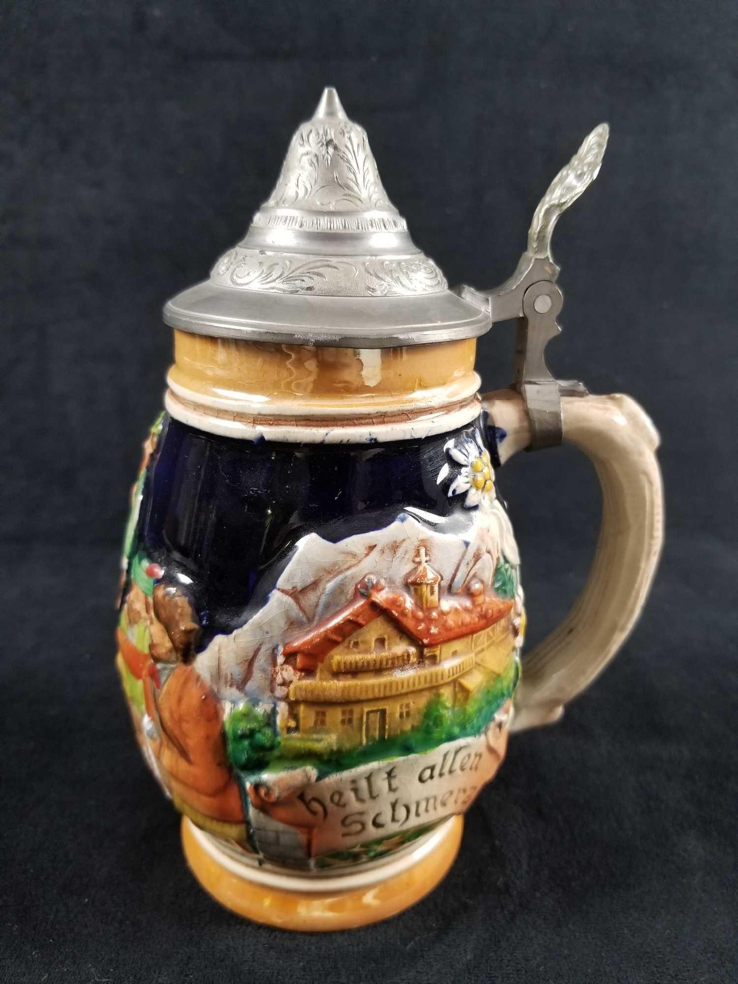 Vintage German Beer Stein with Pewter LId featuring