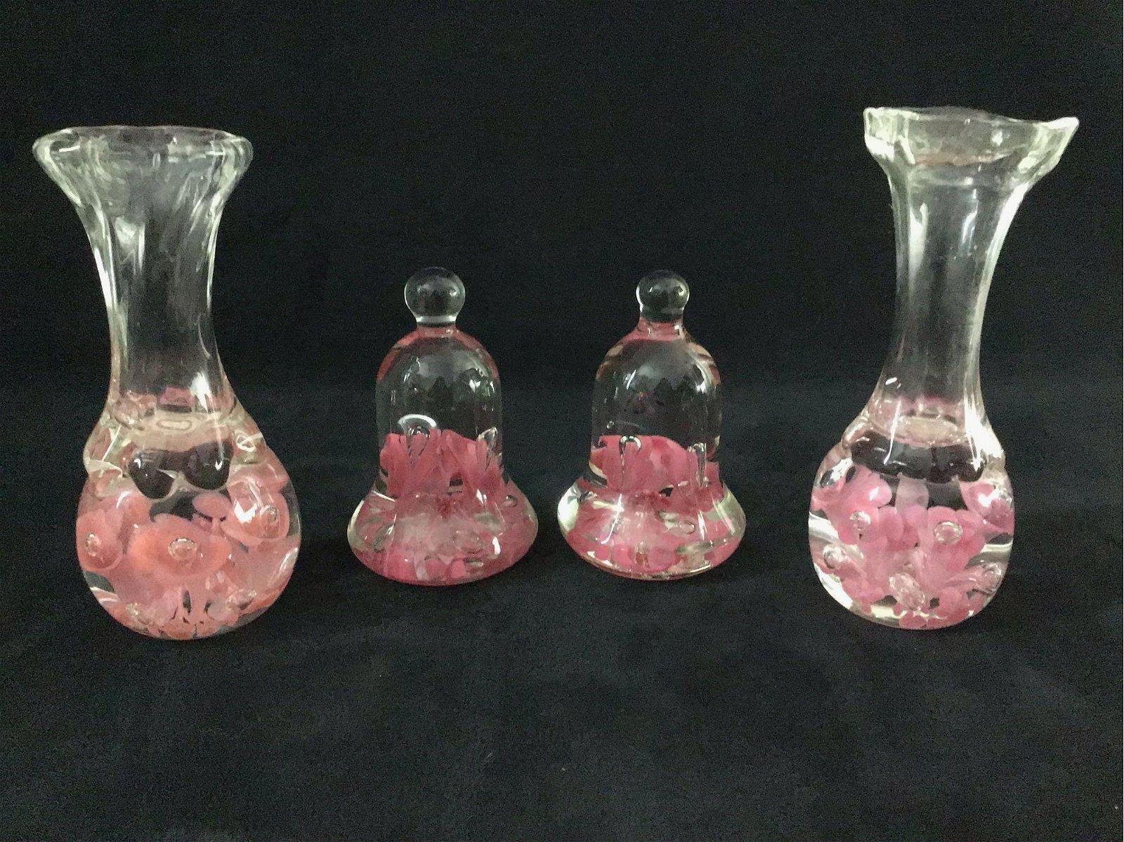 Vintage Glass Art Designer Joe Rice Candlestick Lot