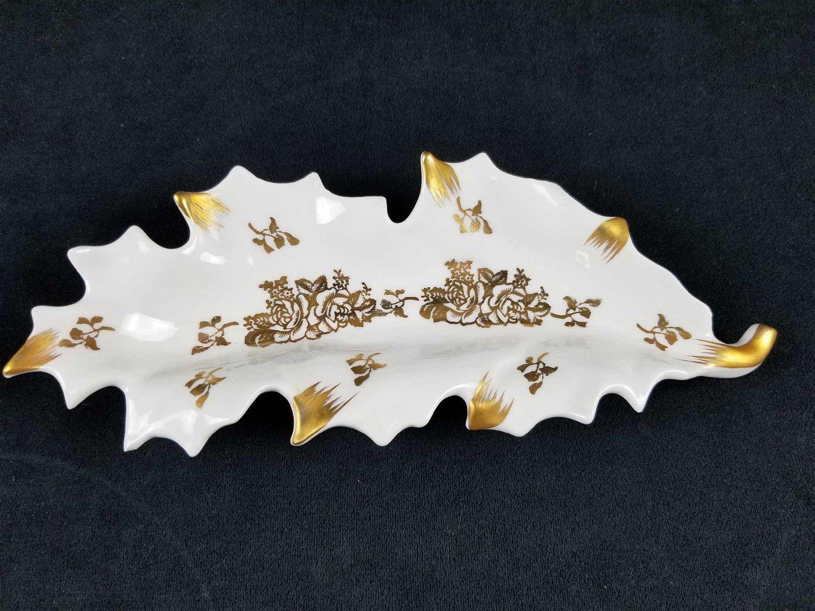 Vintage Gold and White Limoge Porcelain Leaf Shape Dish