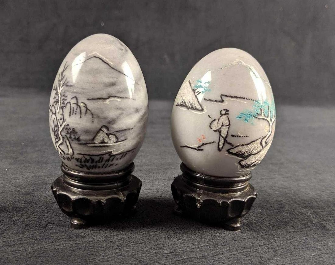 Grey And White Ceramic Chinese Eggs On Stand Set Of Two