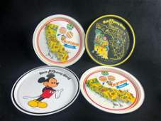 Lot Of 4 Vintage Tin Plate Tray Platter Decorative