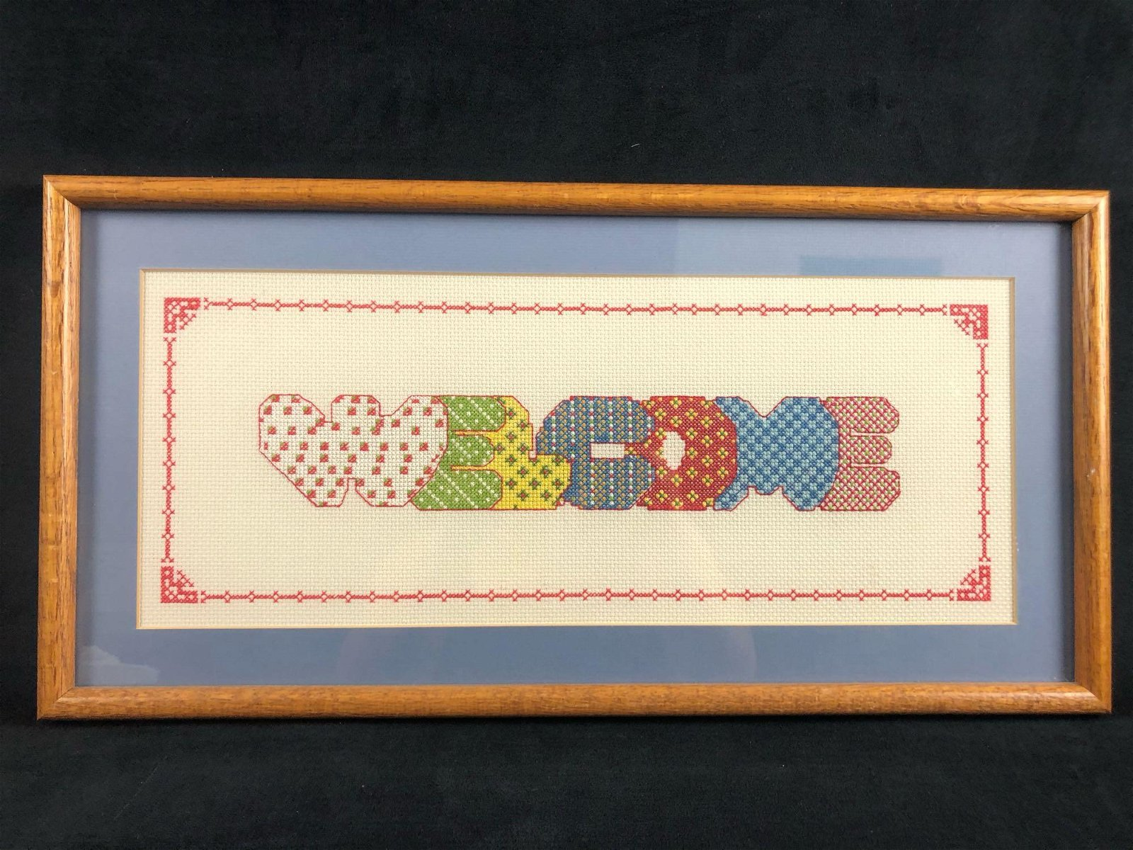 Vintage Wooden Framed Cross Stitch Welcome Sign Home