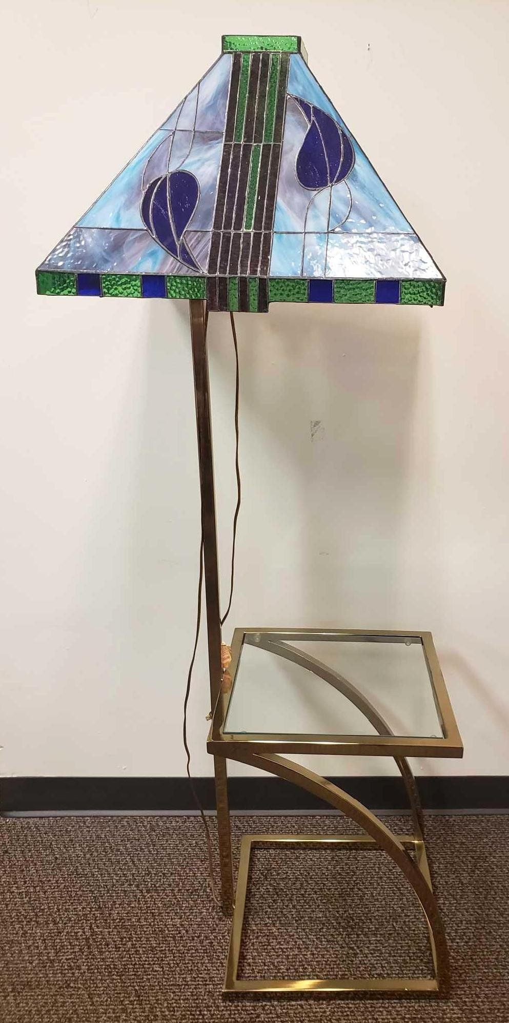 Tiffany Style Stained Glass Lamp with Glass Table