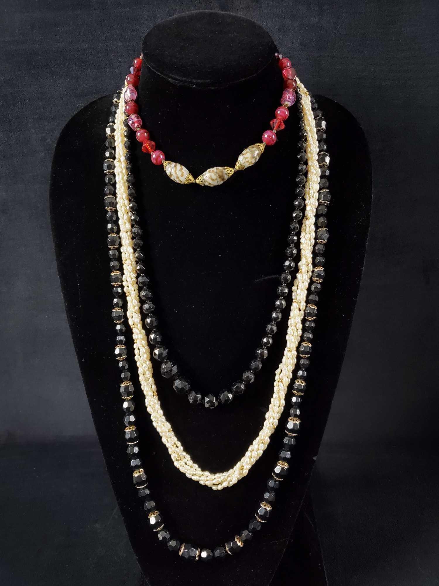 4 Piece Vintage Beaded Costume Jewelry Lot