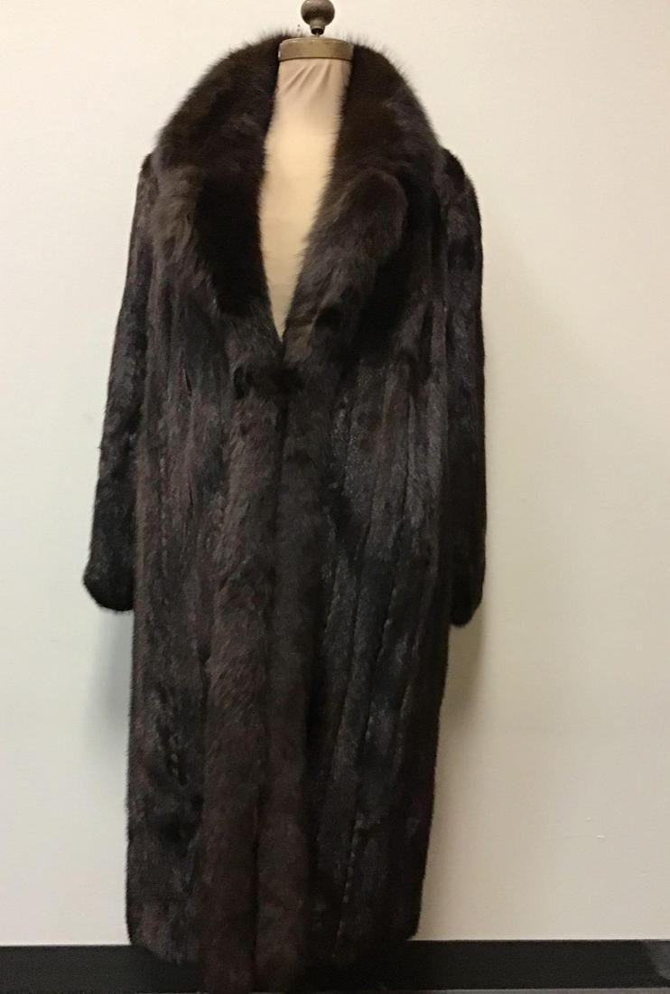 Evans Furs Mahogany Mink with Brown Fox Tux Coat