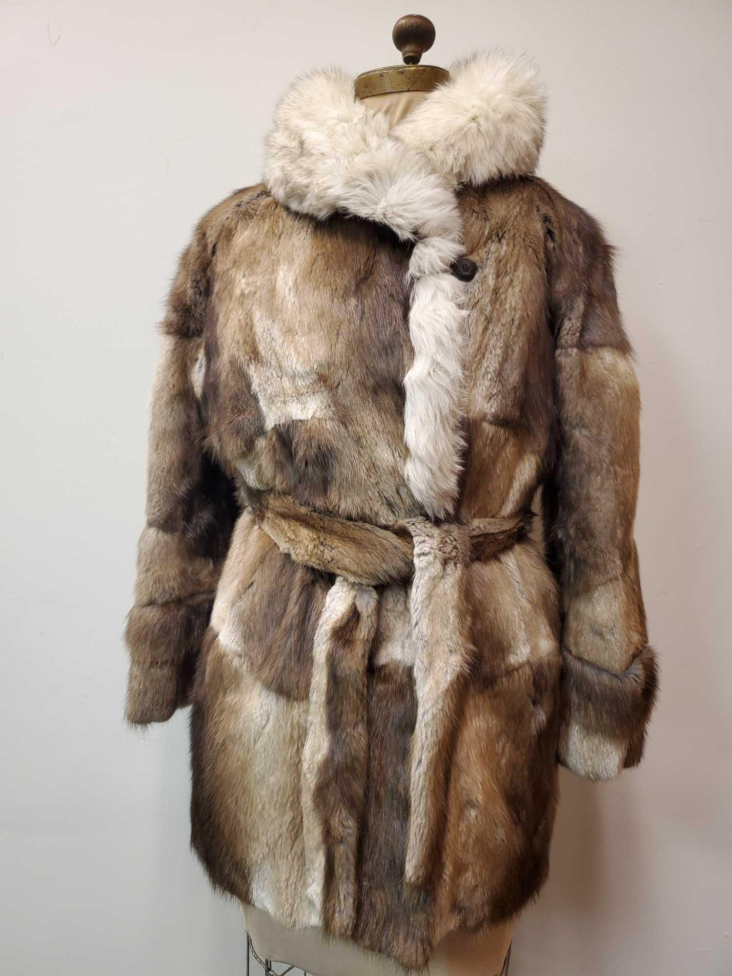 Patched Ranched Mink with Fox Collar Fur Coat by Evans
