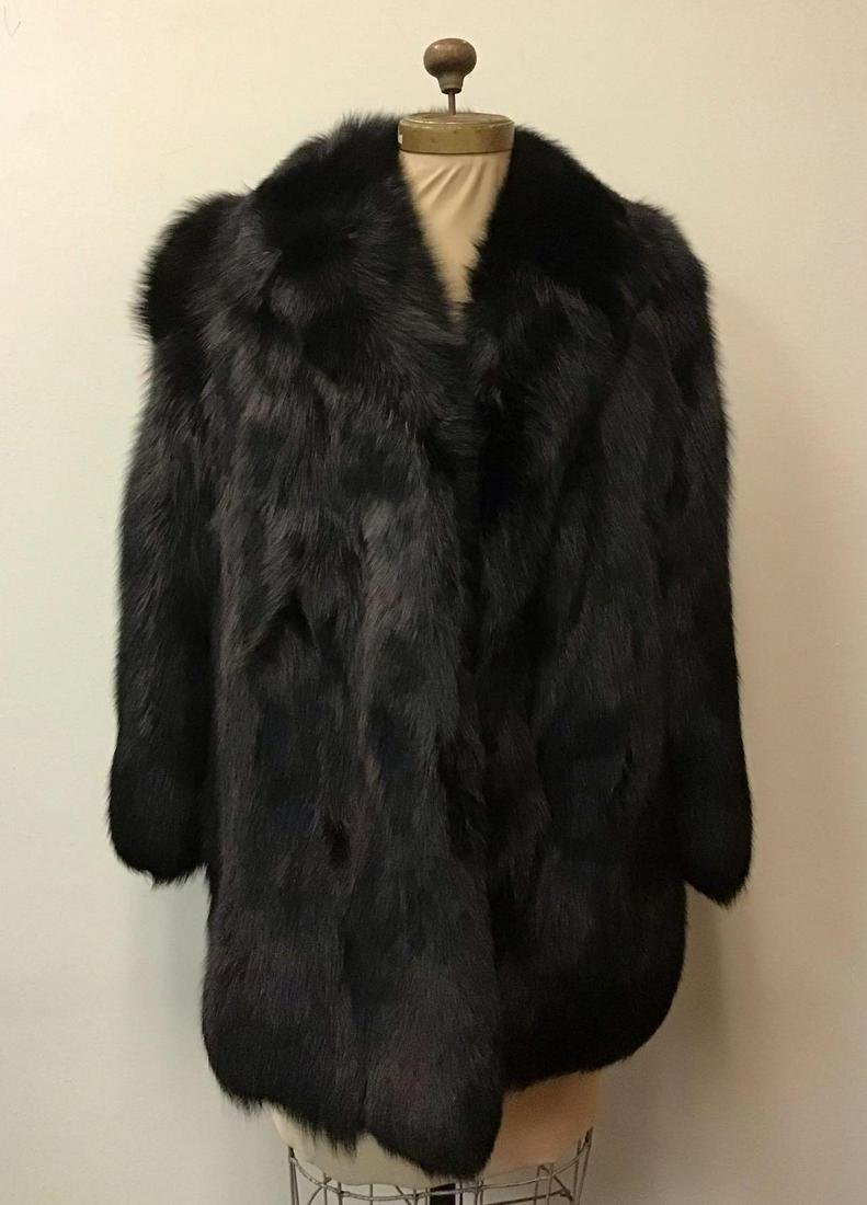 Black Fox Fur Jacket Coat Vintage Fashion