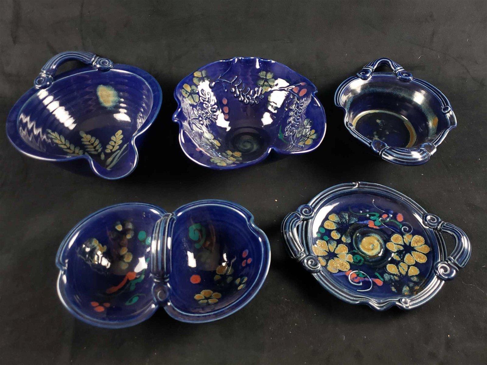 Lot of 5 Blue Floral Ceramic Stoneware