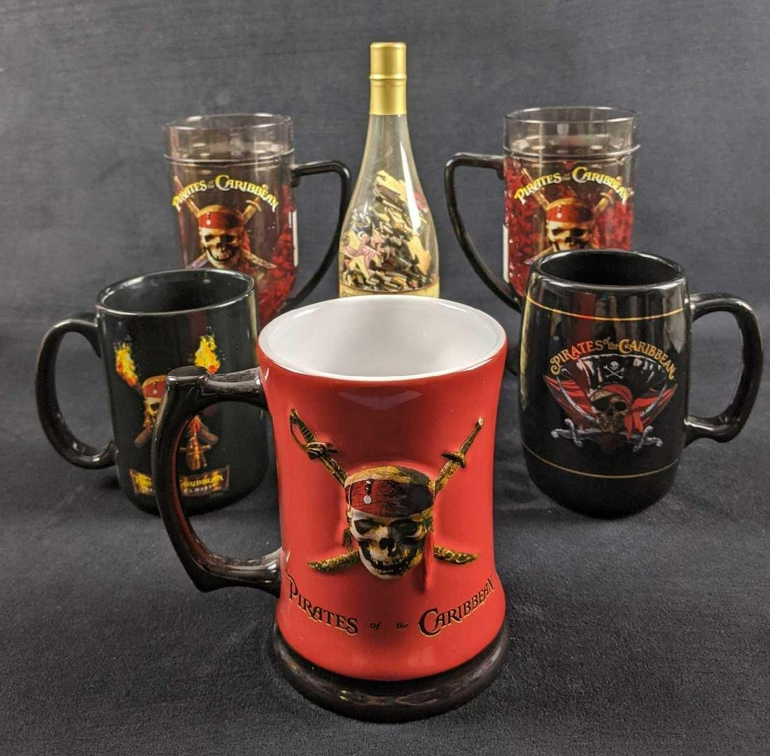 Disney Pirates Of The Caribbean Glasses And Puzzle Lot