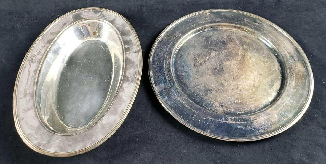 Set of Round and Oval Silver Plate Serving Trays