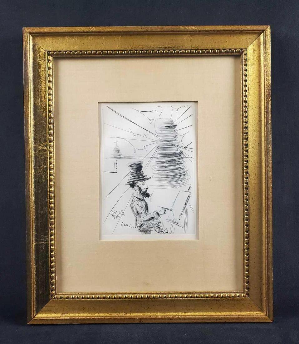 Toulouse Lautrec Self Portrait Etching by Salvador Dali