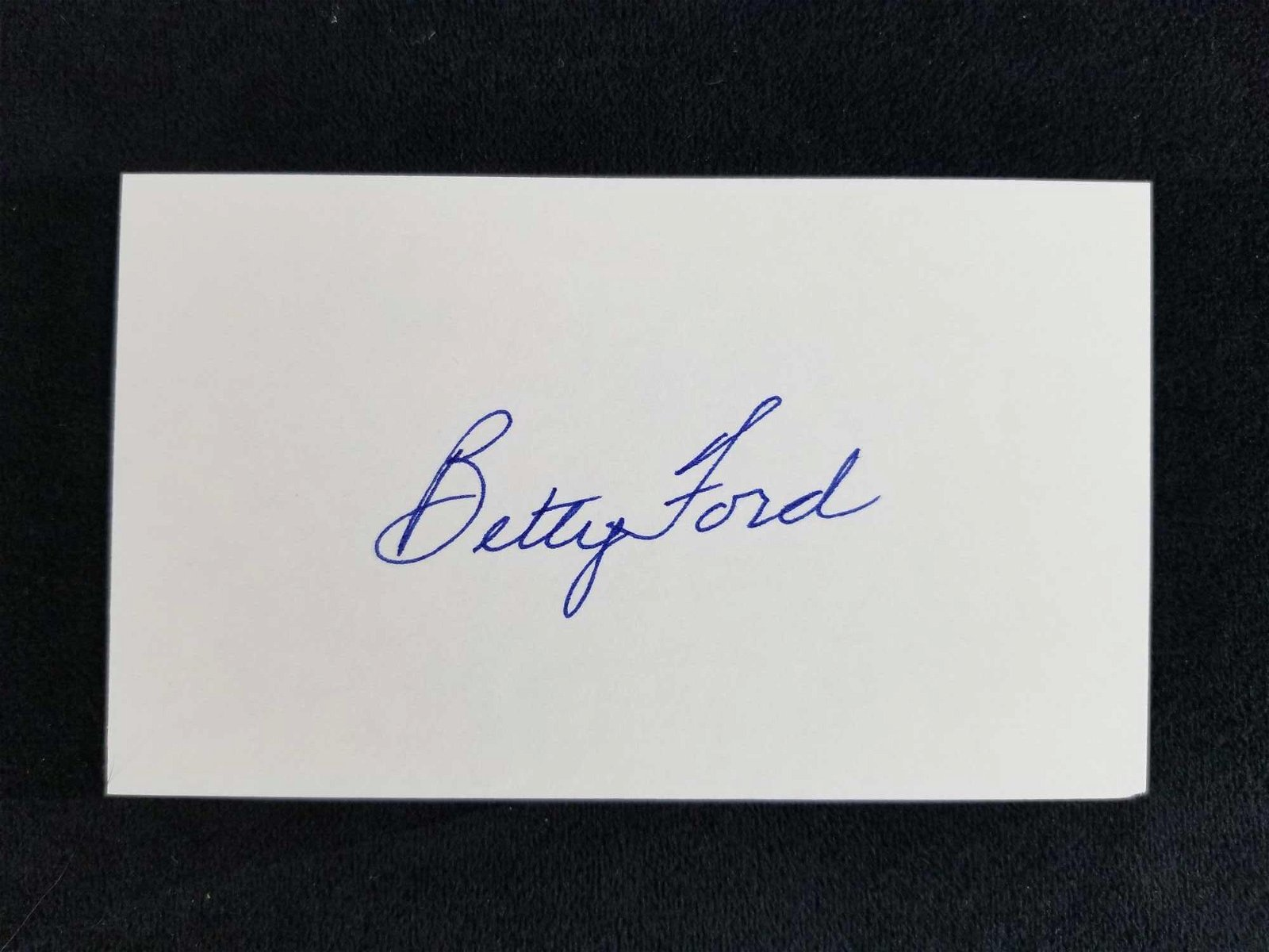 Signed 3x5 Card of Betty Ford