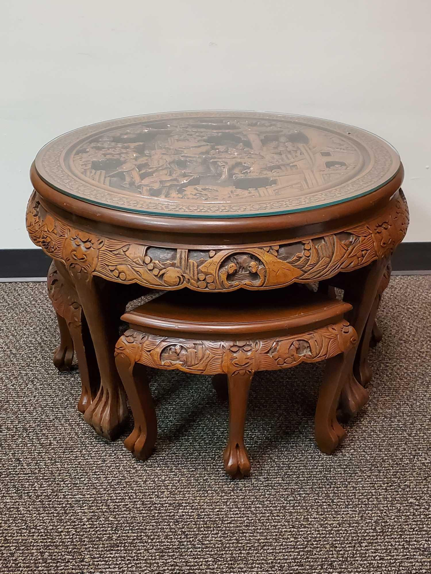 Round Oriental Carved Wooden Table