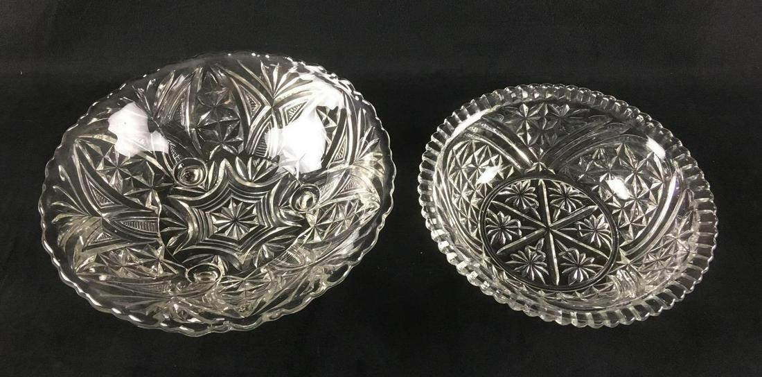 Two Molded Glass Geometric Pattern Bowls