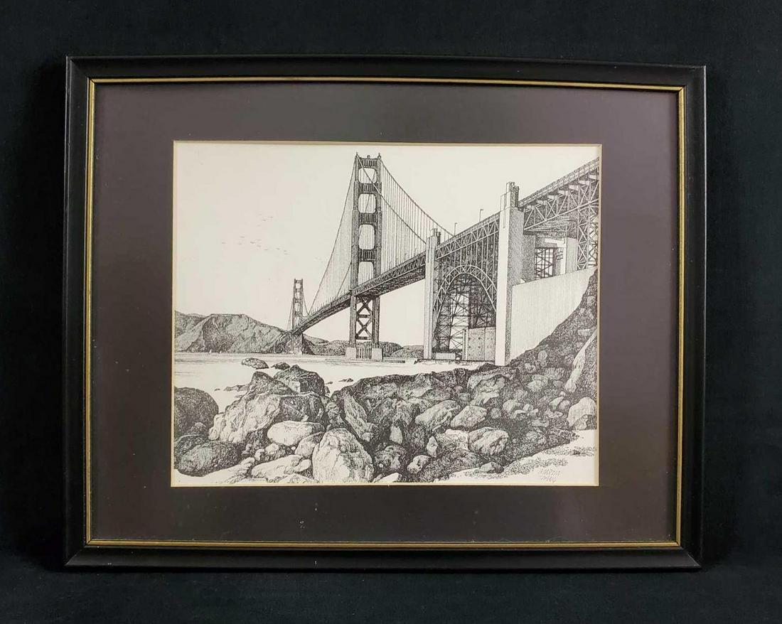Framed Golden Gate Bridge Etching by Martin Tang