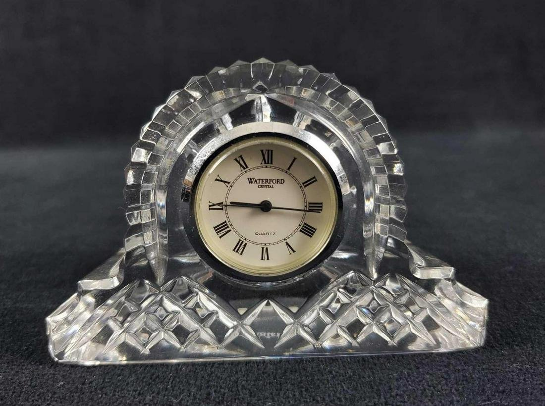 Waterford Crystal Silver Rim Cottage Mantel Clock
