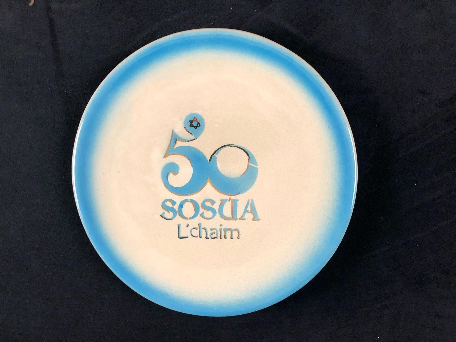 Jewish Personalized 50th Anniversary Plate Golden
