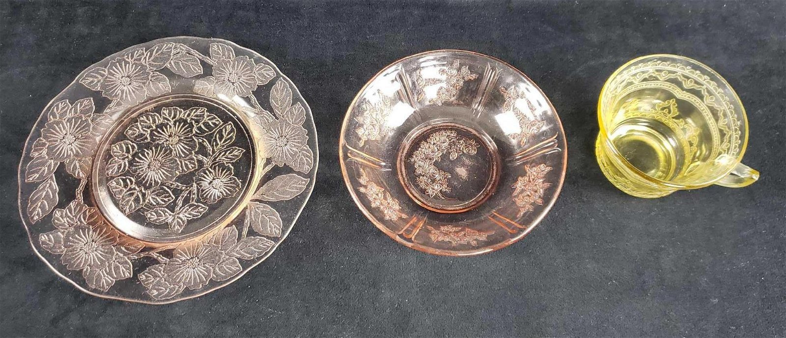 Set of 3 Etched Glass Items