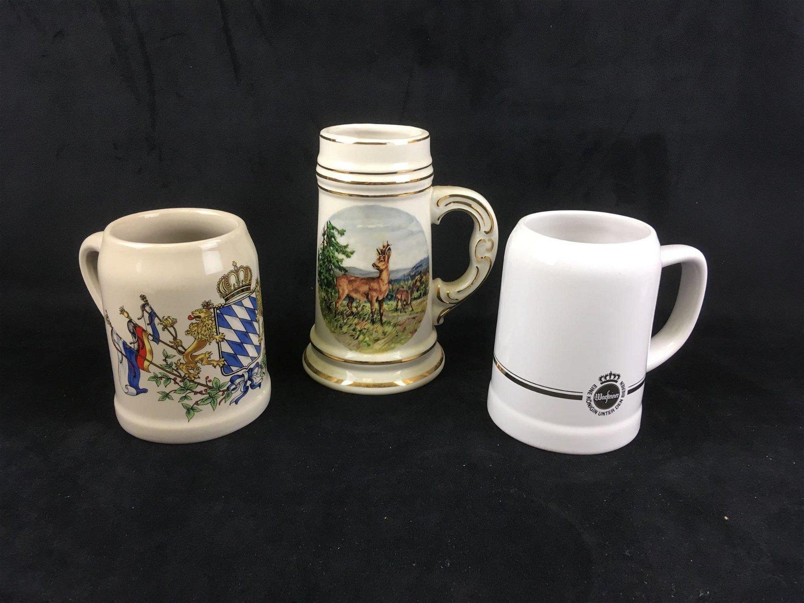 Lot of 3 Vintage German Beer Mugs
