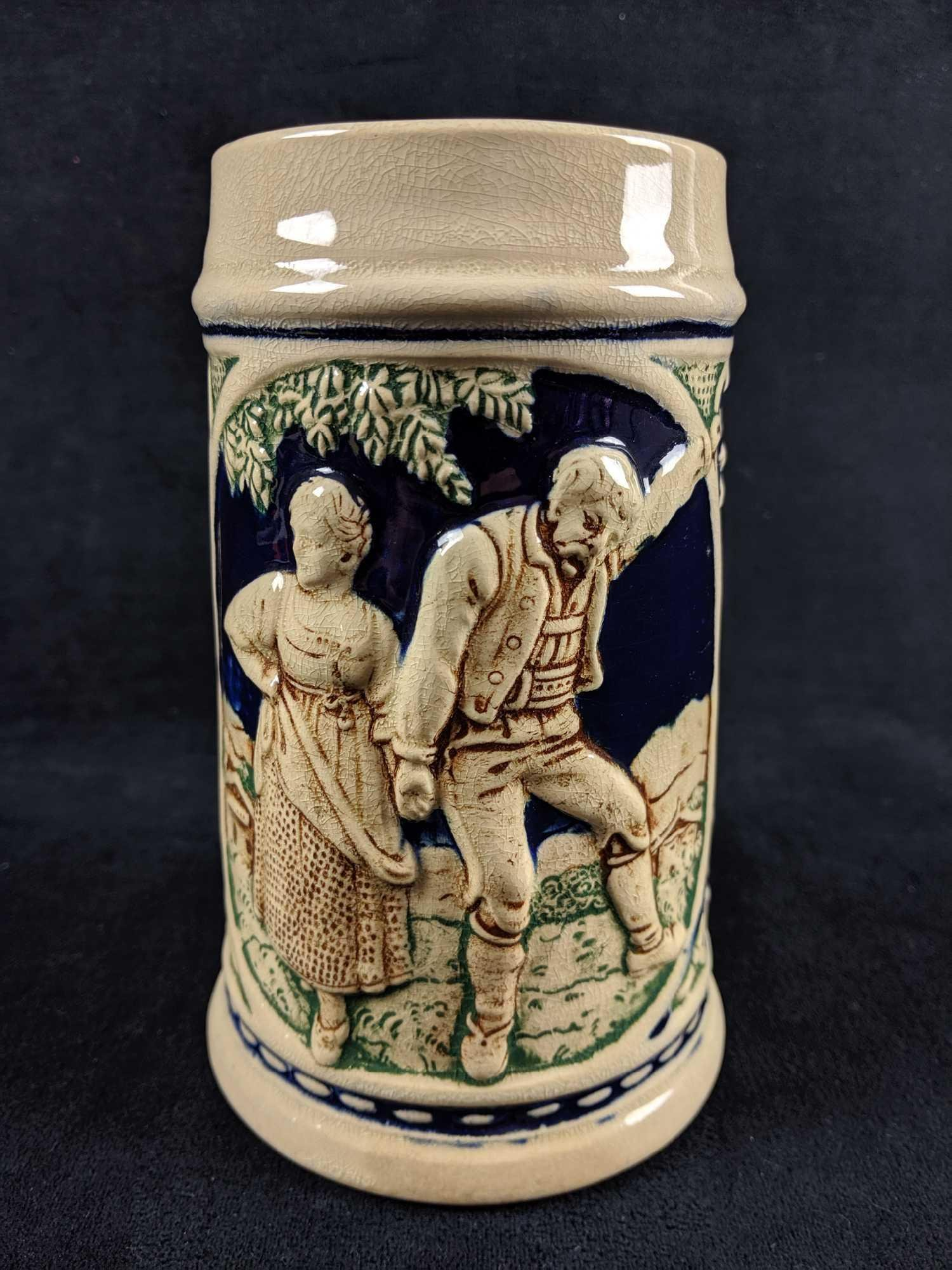 Vintage German Stoneware Handpainted Beer Stein
